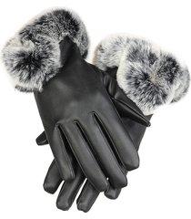 guanti antivento a prova di pelle in pelle pelliccia artificiale con pelliccia coniglio