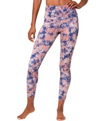 onzie women's high waisted basic 7/8 yoga leggings - earth tie dye x-small spandex