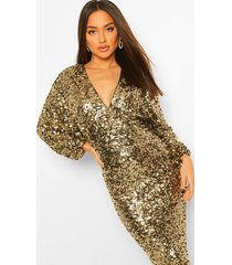 sequin long sleeve plunge midi dress, gold