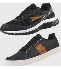 kit 2 - tênis caminhada e sapatênis casual ryn r500b preto