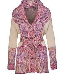 etro jacquard silk cardigan with pink paisley motifs
