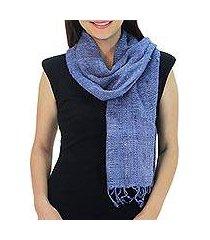 raw silk scarf, 'essential blue' (thailand)
