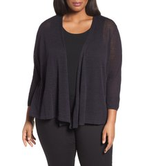 plus size women's nic+zoe '4-way' three quarter sleeve convertible cardigan, size 1x - blue