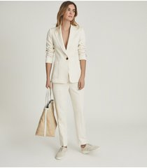 reiss ember - tailored single breasted blazer in cream, womens, size 12