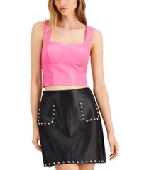 bar iii cropped faux-leather bustier top, created for macy's