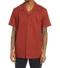 men's treasure & bond short sleeve linen & cotton button-up camp shirt, size x-large - brown