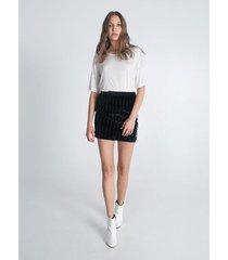 falda corta flecos velvet