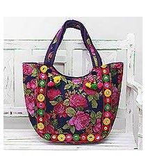 embroidered tote handbag, 'rosy garden' (india)