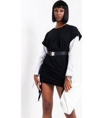 akira yeah i said it long sleeve ruched belted mini dress