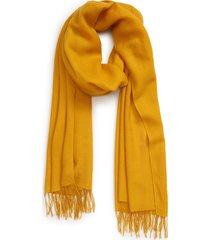 women's nordstrom tissue weight wool & cashmere scarf, size one size - yellow