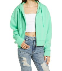 women's topshop zip up hoodie, size small - green