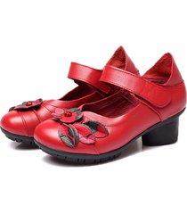 socofy scarpe in pelle morbida di stile rétro folkway con veltro a metà tacchi