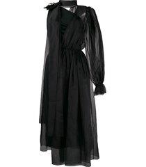 dolce & gabbana crystal embellished asymmetric dress - black