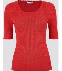 t-shirt med pointellemönster - röd