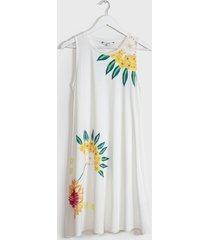 vestido desigual corto blanco - calce regular