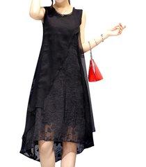 donna abito sciolto con linea a a maniche lunghe con collo tondo con orlo asimmetrico