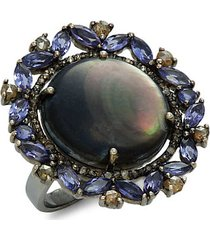 black rhodium-plated sterling silver, grey mother-of-pearl, tanzanite & diamond statement ring