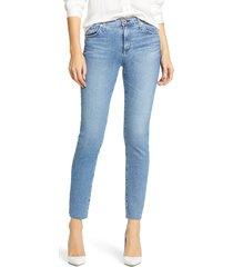women's ag the prima raw hem ankle cigarette jeans, size 26 - blue