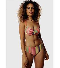 biquãni listrado com calcinha larga sob top com bojo colors coral - multicolorido - feminino - poliamida - dafiti