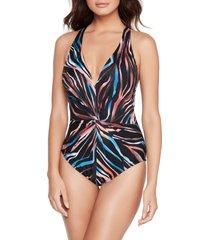 magicsuit(r) tigress drew one-piece swimsuit, size 16 in black/multi at nordstrom