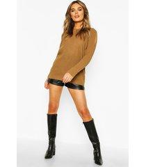cold shoulder moss stitch sweater, camel