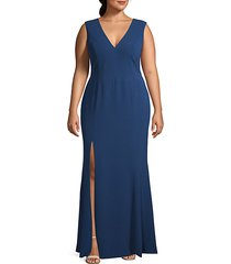 plus side slit stretch gown