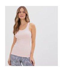 blusa de pijama alcinha com renda no decote | lov | rosa | gg