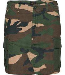 straight cargo skirt kort kjol grön superdry