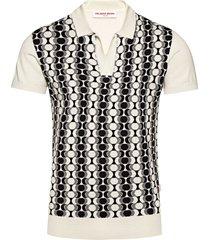 orlebar brown horton silk intarsia knit polo shirt | ink/white | 273724-iwh