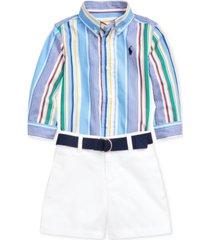 polo ralph lauren baby boys poplin shirt, belt & short set