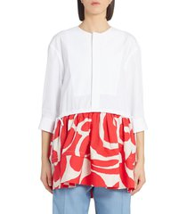 women's marni scribble contrast hem shirt, size 6 us - red