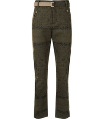 sacai bandana print slim-fit trousers - green