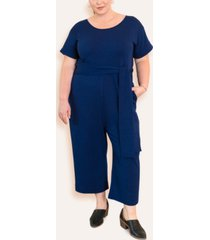 ori women's plus size signature french terry jumpsuit