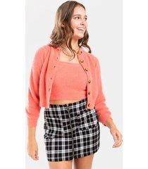 dianne fuzzy cardigan - pink