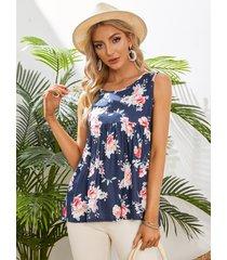camiseta sin mangas con cuello redondo y detalles fruncidos con estampado floral azul marino