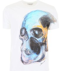 alexander mcqueen painted skull t-shirt