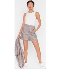 womens check it over high-waisted shorts - grey