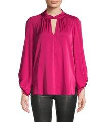 kobi halperin women's joey keyhole silk-chiffon blouse - cranberry - size m