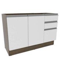 balcão gabinete de pia madesa glamy 120 cm 2 portas e 3 gavetas rustic/branco cor:rustic/branco