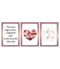 kit 3 quadros decorativos com moldura rose para sala quarto casal