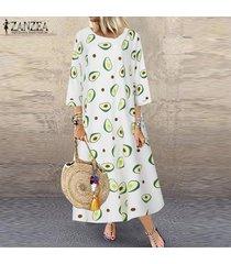 zanzea vestido camisero largo con estampado de aguacate para mujer vestido midi de caftán para vacaciones de verano -blanco