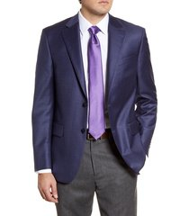 men's big & tall peter millar flynn classic fit check wool sport coat, size 54 l - blue
