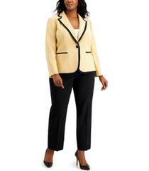 le suit plus size one-button contrast pantsuit