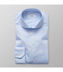 eton heren overhemd licht poplin fijne streep slim fit extreme cutaway blauw