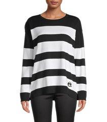 karl lagerfeld paris women's striped cotton-blend sweater - black white - size l