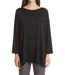 women's eileen fisher ballet neck jersey tunic, size small - black