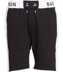 balmain logo jersey shorts