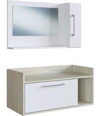 conjunto de balcão e espelheira p/ banheiro bentes branco/nogal estilare móveis