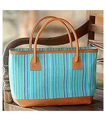 cotton and leather accent tote handbag, 'cheerful lines' (indonesia)