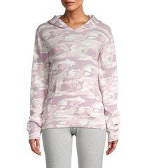 monrow women's camo-print cotton hoodie - pink camo - size m